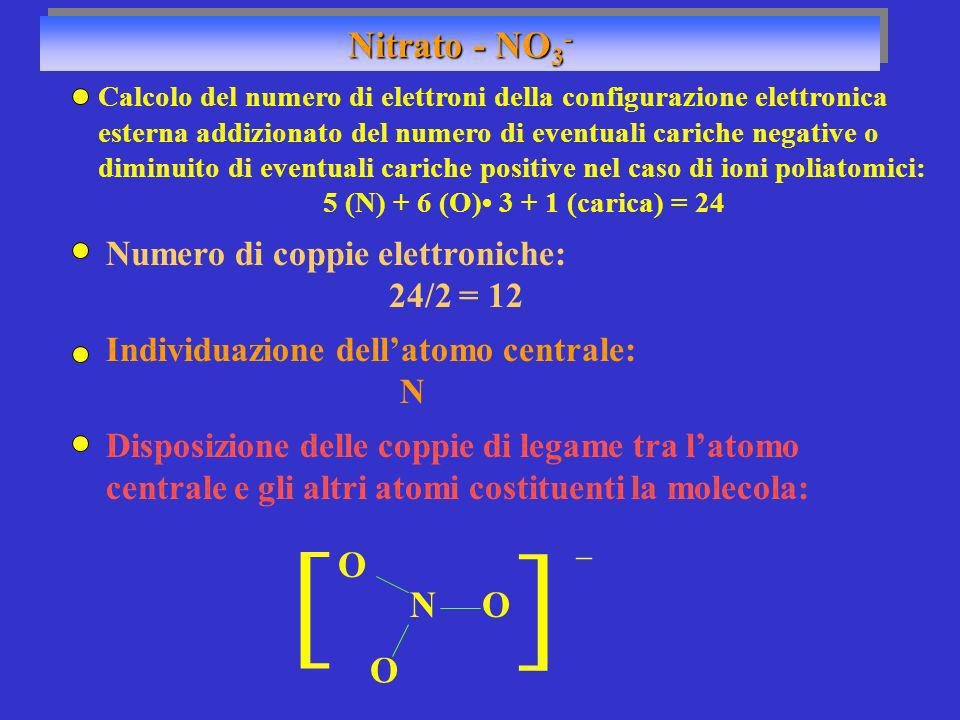 ] ] Nitrato - NO3- O N O O Numero di coppie elettroniche: 24/2 = 12